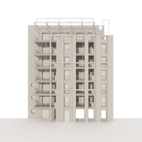 Casa Calipso, Milan. Maquette of the facade