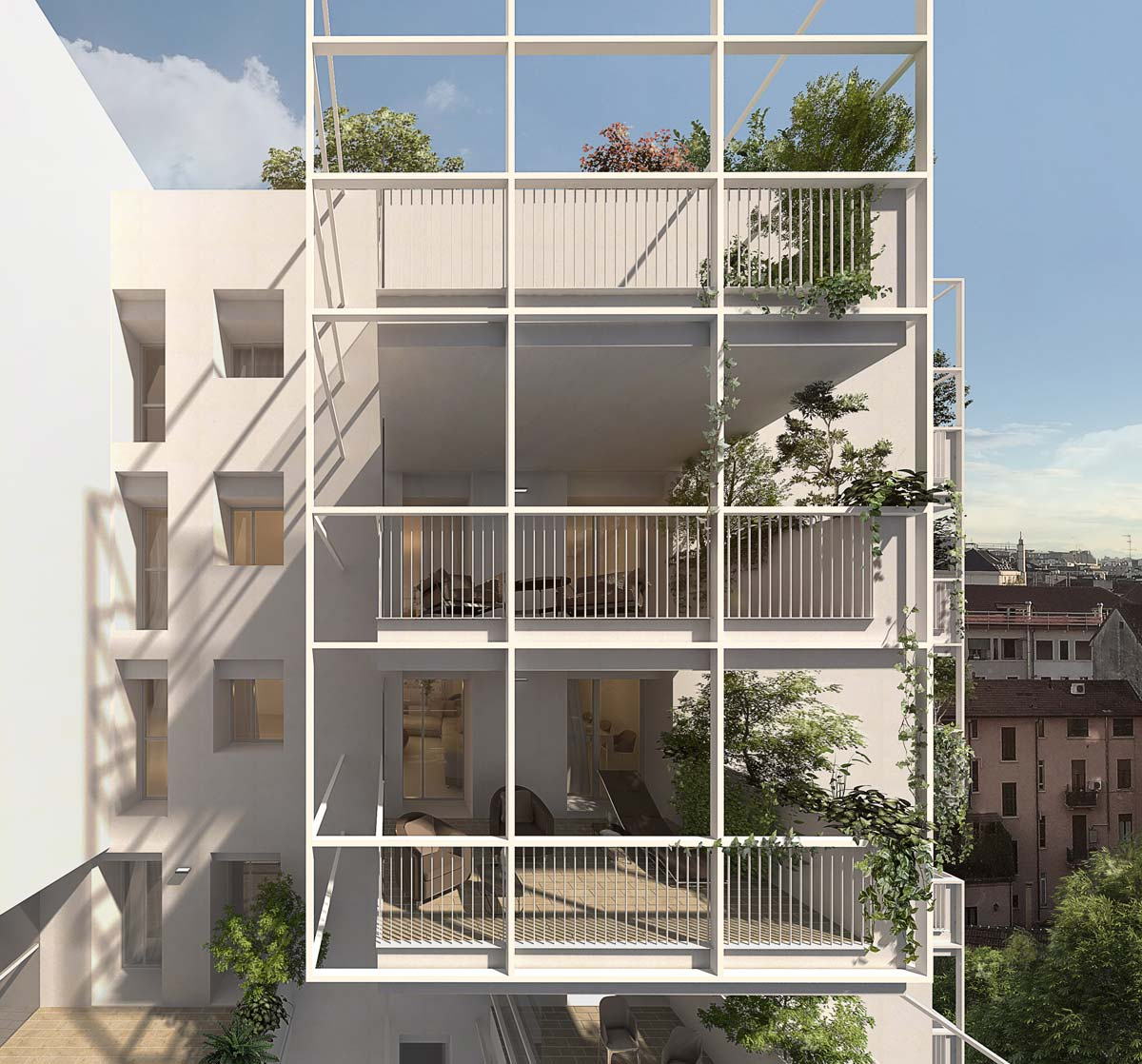 Render of the balconies, framed by white metallic grid