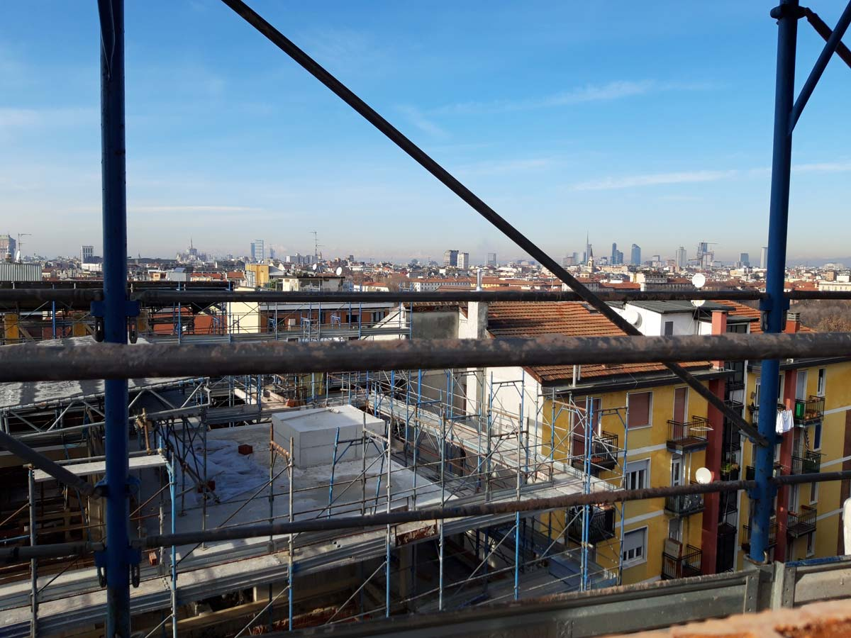 Picture from the building site to Milan's skyline