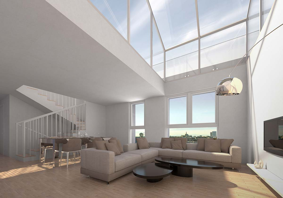 Render of the penthouse, showing living room and skylight